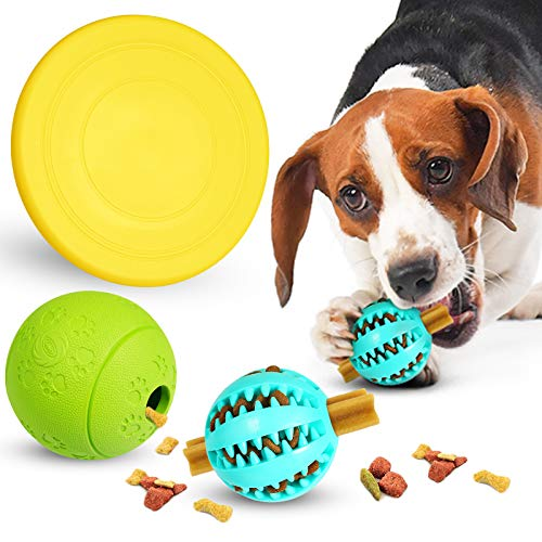 ZooZoo Dog Toy Combo 3 Pack Treat Ball Food Dispensing Ball Frisbee Combo Natural Rubber Interactive Fetch Game Funny Small Large Medium Breed