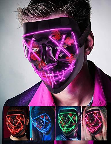 AnanBrosMascara LED Halloween, la Purga Mascara LED, Halloween Purge Mask 3 Modos de Iluminación, Brilla en la Oscuridad Mascara la Purga LED para Fiestas de Disfraces Cosplay Carnaval - Morado