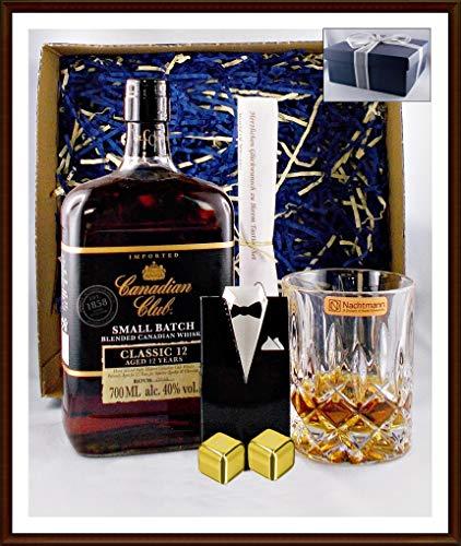 Geschenk Canadian Club Whisky 12 Jahre + Glas + 2 Kühlsteine goldfarben