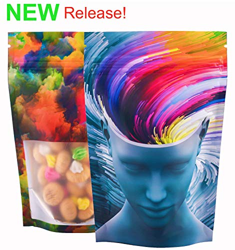 BEST Designs | 50 Smell Proof Mylar Bags | 4x6 inch Stand-up Resealable Foil Ziplock Bags with Clear Viewing Window Food Safe (4x6 in, Abstract Mind)