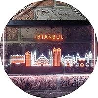 Istanbul City Skyline Silhouette Dual Color LED看板 ネオンプレート サイン 標識 白色 + オレンジ色 600 x 400mm st6s64-i3279-wo