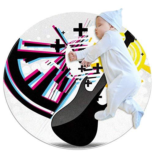 HANDIYA Alfombra para niños, alfombra para dormitorio, sala de juegos, decoración de suelo, guitarra abstracta