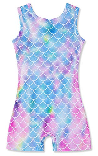Toddler Girls One Piece Mermaid Graphic Gymnastics Leotards With Short Size 3t 4t Quick Dry Activewear Biktards Sparkly Athletic Dance Clothes for Kids 3-4 T