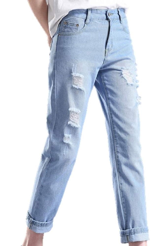[ウルークレア] レディース ダメージ ジーンズ 9分丈 テーパード ストレート デニム 美脚 パンツ