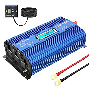 1500W Pure Sine Wave Power Inverter DC 12v to AC 110V-120V with Remote Control LCD Display and 2x2.4A Dual USB Ports 3 AC Outlets for Home RV Truck by VOLTWORKS