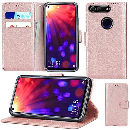 Huawei Honor View 20 Hülle, Premium PU Leder Flip Wallet Handyhülle mit Magnetverschluss Ständer Kartenhalter für Huawei Honor View 20 (Roségold)