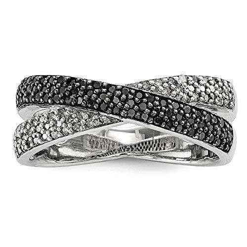 Anillo de plata de ley 925 pulida, en caja de regalo, chapado en rodio, chapado en rodio y diamantes blancos, tamaño L 1/2