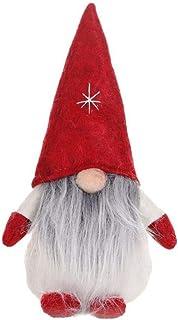 Greyghost Adornos navideños de 5.5 pulgadas Muñeca de gnomo de felpa Sueco Santa barba larga de pie Muñeca de peluche hecha a mano Juguete Nisse Nordic Elf Figurita Decoración navideña para el hogar