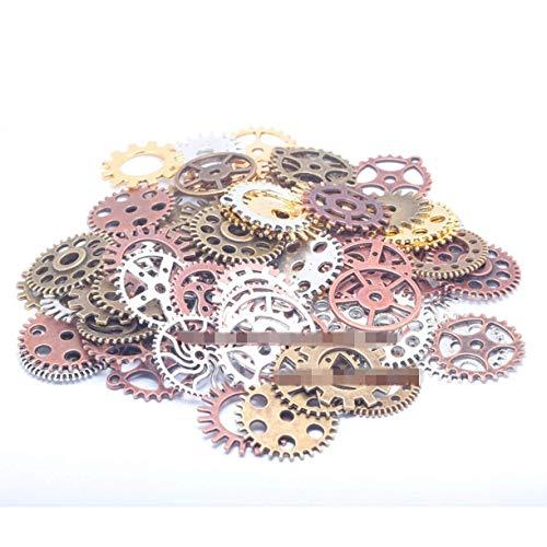 ZHONGJIUYUAN 100 g mezcla de varios colores colgantes Steampunk Gear colgante Fit pulseras collar DIY joyería de metal