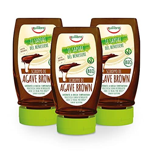 Equilibra Integratori Alimentari, Sciroppo D'Agave Brown, da Usare come Dolcificante per Bevande o Ingrediente per Dolci e Dessert, Bio e Vegan, Senza Glutine, Gusto Intenso, 3 Pezzi da 350 g