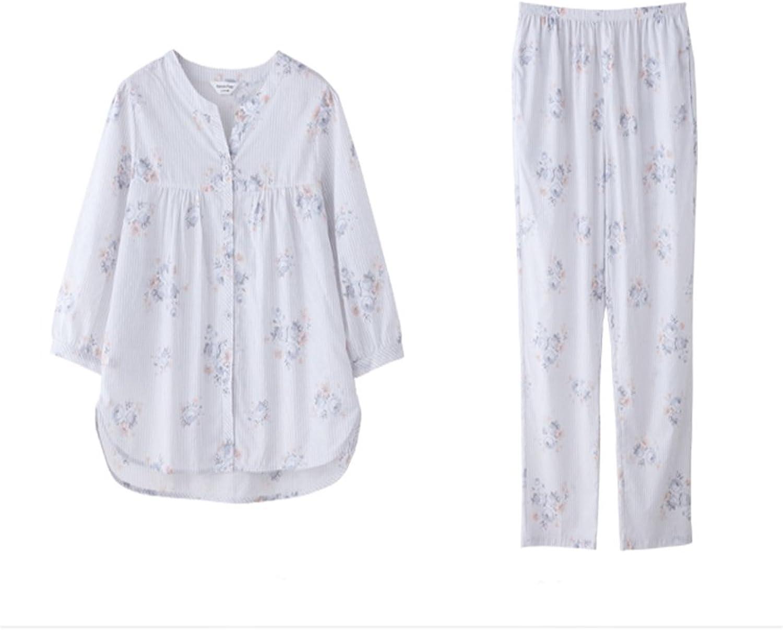 b6c980233dd5 Floral Print Women's Pajama Set,Three Quarter Sleeve Sleepwear Long Button  Down Loungewear with Pants