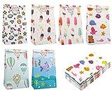 Zooawa [48 PZS Bolsa de Regalo de Dibujos Animados, Bolsas de Papel Kraft Respetuosas de Medio Ambiente con 48 Pegatinas para Dulces Chocolate Galletas en Navidad y Año Nuevo - Multicolor