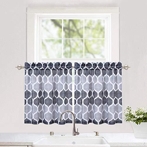 "Haperlare Grey Tier Curtains for Kitchen, Lattice Pattern Short Bathroom Window Curtain, Trellis Design Half Window Kitchen Cafe Curtains, 28"" x 24"", Gray/Silver, Set of 2"