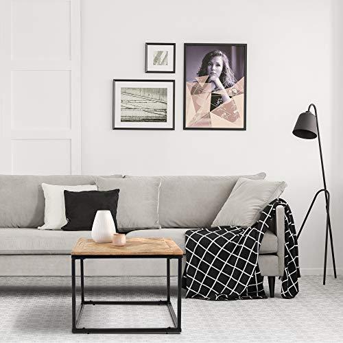 WOMO-DESIGN Design Beistelltisch 60 x 60 cm Quadratisch Natur Massivholz Mangoholz Parkettoptik Metallgestell Schwarz Handgefertigte Wohnzimmertisch Couchtisch Sofatisch Holztisch für Wohnzimmer