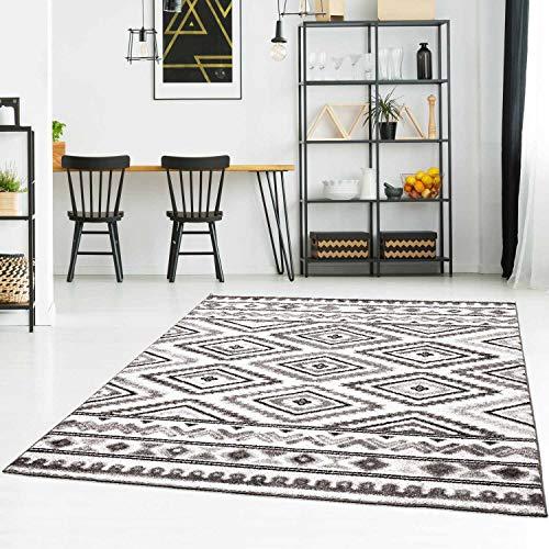 Teppich Flachflor Modern mit Ethno-Look in Grau Wohnzimmer Größe 120/160 cm