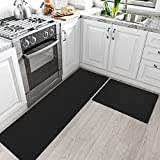 DEXI Kitchen Rugs and Mats Cushioned Anti Fatigue Comfort Runner Mat for Floor Rug Waterproof Standing Rugs Set of 2,17'x29'+17'x59', Black