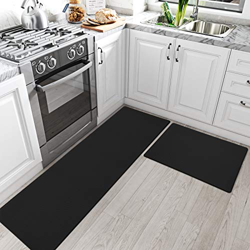 "DEXI Kitchen Rugs and Mats Cushioned Anti Fatigue Comfort Runner Mat for Floor Rug Waterproof Standing Rugs Set of 2,17""x29""+17""x59"", Black"