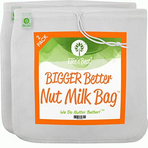Pro Quality Nut Milk Bag - 2 XL12'X12' Bags - Commercial Grade Reusable All Purpose Food Strainer - Food Grade BPA-Free - Ultra Strong Fine Nylon Mesh - Nutmilk, Juices, Cold Brew - Recipes & Videos