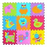 JIAYAN Baby EVA Foam Play Puzzle Mat / 9pcs / Lot Baldosas de Ejercicio entrelazadas Tapete de Piso para niños, Cada niño de Alfombra de 30cmX30cm, 9pcs P011G3009,300 300 9mm