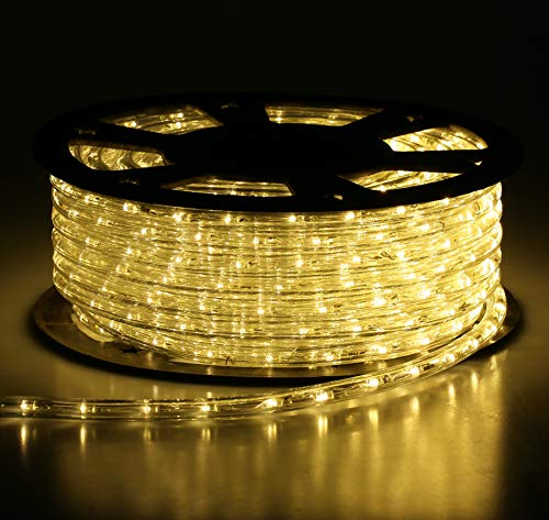 Buyagn 150Ft LED Rope Lights,Cuttable & Connectable LED Rope Lights Outdoor Waterproof Decorative Lighting for Indoor/Outdoor,Eaves,Backyards Garden,Party and Bedroom Decorations(Warm White)