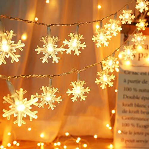 Luces de Navidad Copo de Nieve, BrizLabs 2 Paquete 40 LED Cadenas de Luces con Batería Guirnalda Luces Decoración Navideña para Dormitorio Boda Fiesta Interior Exterior, Blanco Cálido