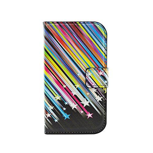 Qiaogle Telefono Case - Custodia in Pelle PU Basamento Custodia Protettiva Cover per Samsung Galaxy Grand Neo i9060 / Grand Neo Plus i9062 (5.0 Pollici) - HY05 / Colorful Meteor