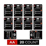 Fujitsu Ready-to-use AA Rechargeable Battery NiMH 1.2V Min. 2450mAh x 20 Batteries - Black - HR-3UTHCEU (2B) - 10 Packs of AA2 (20 Count)