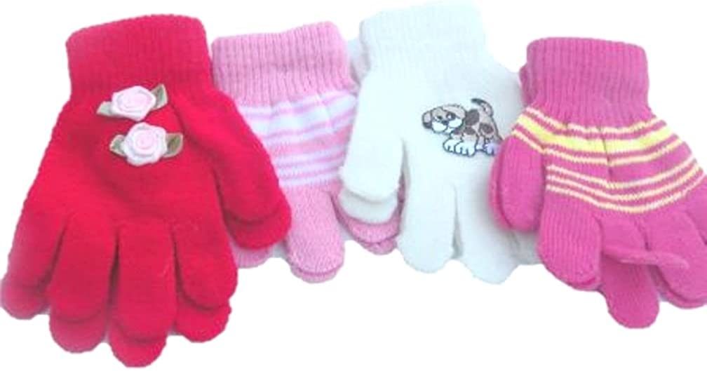 Set of Four Pairs of One Size Magic Stretch Gloves for Infants Ages 1-3 Years