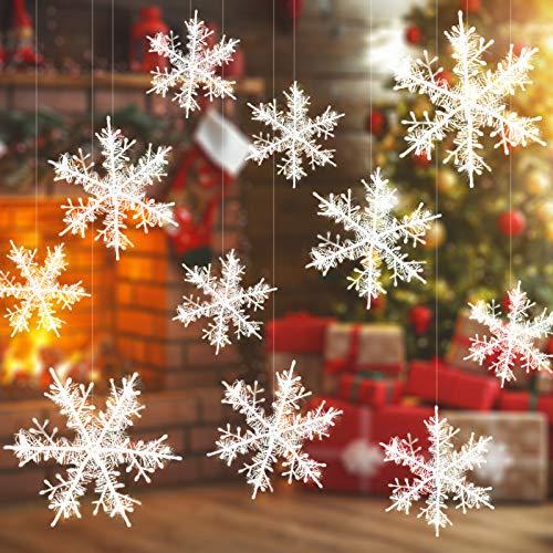 Kyrieval 40 Stück Weiß Schneeflocken Weihnachten Glitzer Schneeflocken mit 3 verschiedenen Größen Für Fensterdeko Weihnachten (String ist enthalten)