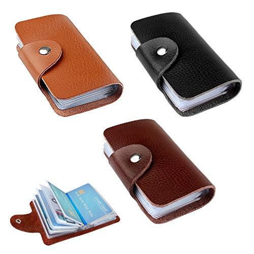 Credit Card Houder 3 stks Bank Card case Vrouwen Mannen Credit Card Sleeve Business Card Houder Leer met 12 vakken voor 24 Kaarten (Zwart, Bruin Licht Bruin)