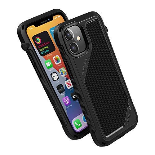 Carcasa de la serie Vibe diseñada Funda para iPhone 12 Mini, compatible MagSafe, interruptor de silencio giratorio patentado, a prueba de caídas de 4.5m, sistema de fijación Crux, por Catalyst - Negro