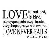 ZSSZ Love is Patient is Kind. It Always Protects Always Trusts Always Hopes Always perseveres. Love Never Fails 1 Corinthians 13:4.7-8 Bible Verse Quote Wall Decal Vinyl Letters