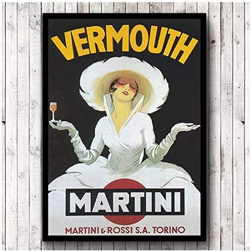 Eryan Vintage Style Vermouth Martini Poster Poster Retro Wall Art Canvas Pintura Imprimir Bebida Advertisement Picture Bar Decoration -50X70CM Sin cuadro