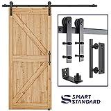 SMARTSTANDARD 6.6 FT Heavy Duty Sturdy Sliding Barn Door Hardware Kit, 6.6FT Double Rail, Black, (Whole Set Includes 1x Pull Handle Set & 1x Floor Guide) Fit 36'-40' Wide Door Panel (I Shape Hanger)