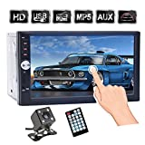 7 inch Touch Screen Double Din Car Stereo, Support Microphone BT/FM/USB/TF/AUX, HD 1080P Car MP5 Player with...