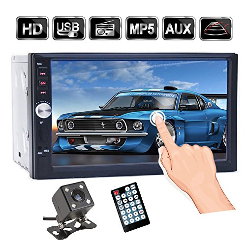 7 inch Touch Screen Double Din Car Stereo, Support Microphone BT/FM/USB/TF/AUX, HD 1080P Car MP5 Player with Rearview Camera + Remote Control (black1)