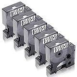 Xemax Compatible Cinta 9mm x 7m Reemplazo para Dymo 40910 S0720670 Negro sobre Transparent Casete para Dymo LabelManager 120P 160 220P 360D 450D 500TS PC II PnP, LabelPoint 200 150 400 450 Duo, 5-Pack