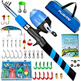 PLUSINNO Kids Fishing Pole, Portable Telescopic Fishing Rod and Reel Combo Kit - with Spincast Fishing Reel Tackle Box for Boys, Girls, Youth