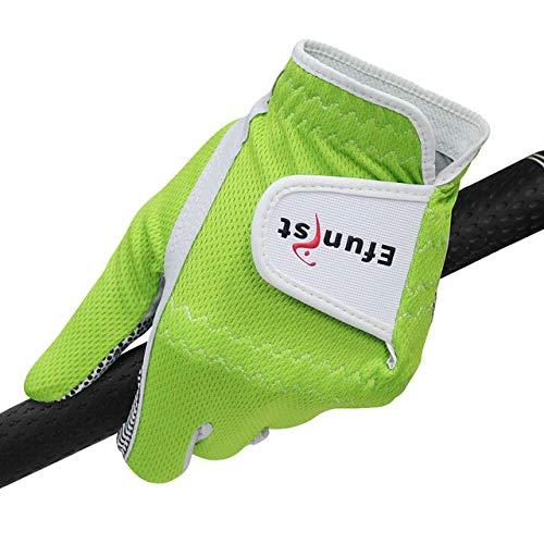 MARKOO Efunist Golfhandschuh für Herren, linke Hand, atmungsaktiv, grün, 3D-Performance-Netzgewebe, rutschfeste Mikrofaser-Golfhandschuhe, auf der linken Hand getragen, Größe S, 22