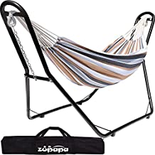 Zupapa Hammock with Stand 2 Person, Upgraded Steel Hammock Frame and Polycotton Hammock, 550LBS Capacity for Indoor Outdoor Use