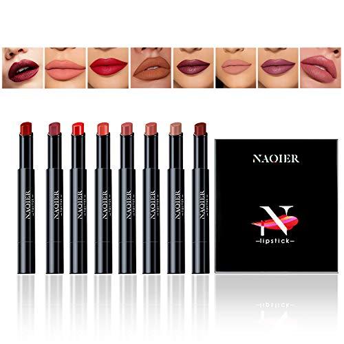 Lápiz Labial Mate, NAQIER 8 Pzas, Hidratante Suave Pintalabios Nude, Lápiz labial líquido a prueba de agua Maquillaje Brillo de labios Velvet