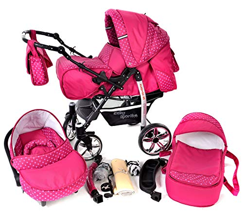 Sportive X2, 3-in-1 Travel System incl. Baby Pram with Swivel Wheels, Car Seat, Pushchair & Accessories (3-in-1 Travel System, Pink & Polka Dots)