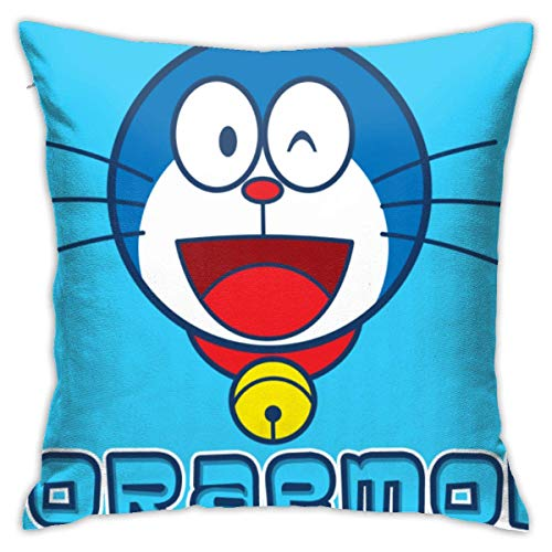 AOOEDM Happy Doraemon Throw Pillow Covers 18'X 18'Inch Square Shape Decorative Cushion Cover for Couch Sofa Pillow Set