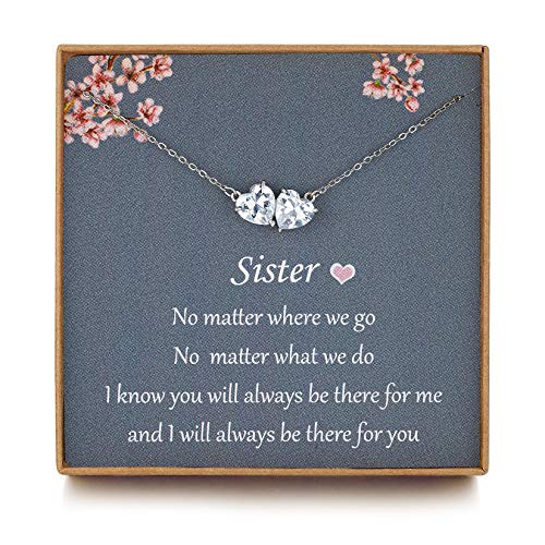 NOURISHLOV Sister Gifts - Sterling Silver Two Heart Crystal Necklace for...