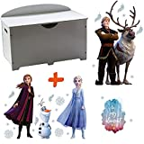 BebeGavroche - Baúl para juguetes (2 en 1, madera), diseño de Frozen