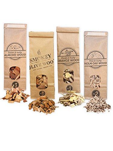 Smokey Olive Wood 4X Räucherchips: 500mL Olivenholz, 500mL Orangenholz, 500mL Mandel, 500mL Steineichen-Holz. Grösse der Chips 2-3cm
