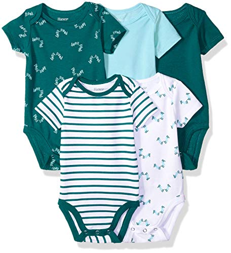 Hanes Ultimate Baby Flexy 5 Pack Short Sleeve Bodysuits, Greens, 6-12 Months