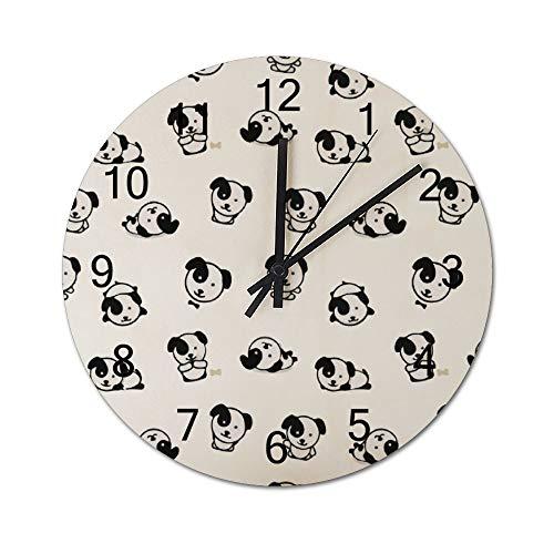 Reloj de pared para regalo de inauguración de la casa, de 30,48 cm, diseño de dibujos animados en blanco y negro con ilustración danesa, funciona con pilas, reloj de madera para decoración del salón