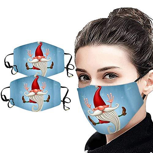 NN/A 2 Stücke Unisex Weihnachten Mundschutz mit Motiv