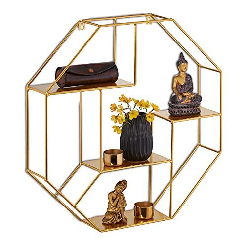 Relaxdays Estantería de Pared de Metal, 50 x 50 x 10 cm, 4 estantes, octogonales, diseño Moderno, estantería Colgante, Estante Flotante, Color Dorado